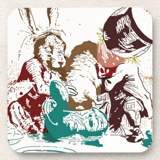 Dormouse in the Teapot Mad Tea Party Coasters