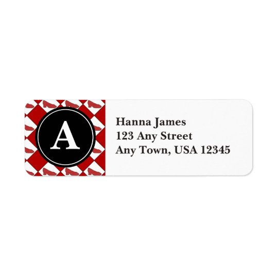 Dorothy Ruby Slippers Pattern Monogram Return Address Label