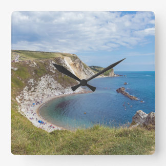 Dorset Man O'War beach square wall clock