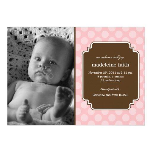 Dot Delight Baby Girl Birth Announcement Personalized Invitation