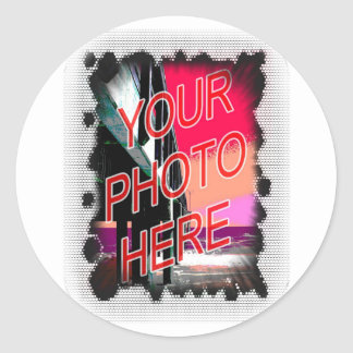 Dot Fade frame template Round Sticker
