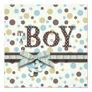 Dot Print and 3D-look Bow Baby Shower Card