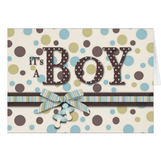 Dot Print and 3D-look Bow Baby Shower Greeting Card
