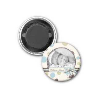 Dot Print with 3D-look Bow Birth Announcement Magnet