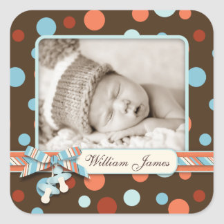 Dot Print with 3D-look Bow Birth Announcement Square Sticker