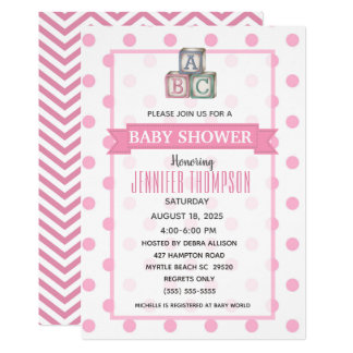 Dots and Chevron Baby Shower Invitation
