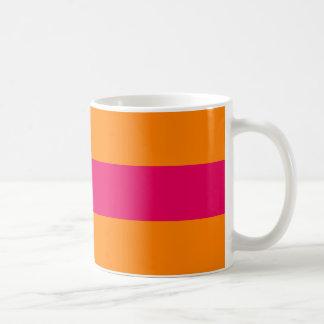 Dots and Stripes Forever hot pink and orange Basic White Mug