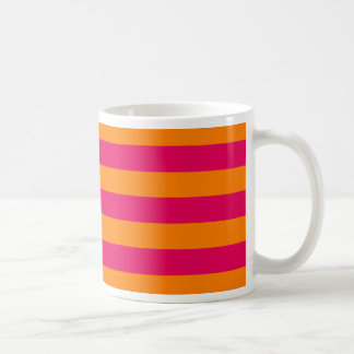 Dots and Stripes Forever hot pink and orange Coffee Mug