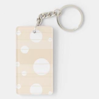 Dots and Stripes in Vanilla Double-Sided Rectangular Acrylic Key Ring