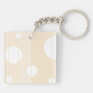 Dots and Stripes in Vanilla Double-Sided Square Acrylic Key Ring