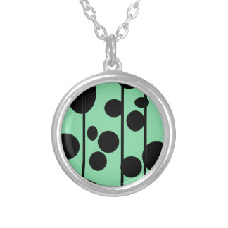 Dots and stripes round pendant necklace