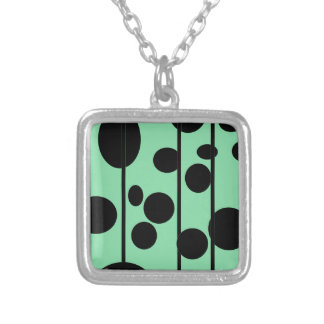 Dots and stripes square pendant necklace