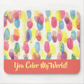 Dots Color My World Watercolor Artist Mouse Pad