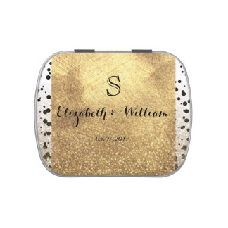 Dots confetti and faux gold design candy tins