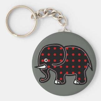 dots elephant basic round button key ring