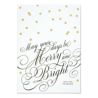 Dots Gold Script Holiday Card 13 Cm X 18 Cm Invitation Card