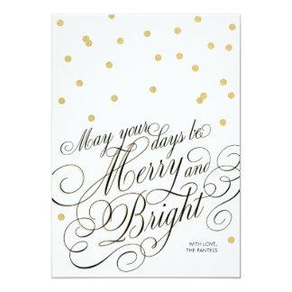 "Dots Gold Script Holiday Card 5"" X 7"" Invitation Card"