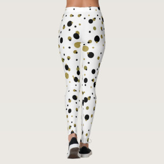 Dots Golden Black Confetti Trendy Stylish Pattern Leggings