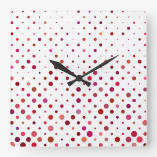 Dots in Warm Colors Square Wall Clock