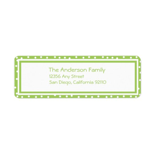 Dots n Dots  Return Address Label (lime)
