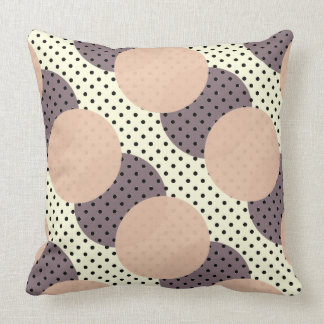 Dots pink purple black on off-white cushion