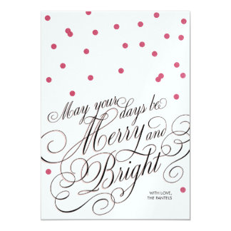 """Dots Red Script Holiday Card 5"""" X 7"""" Invitation Card"""