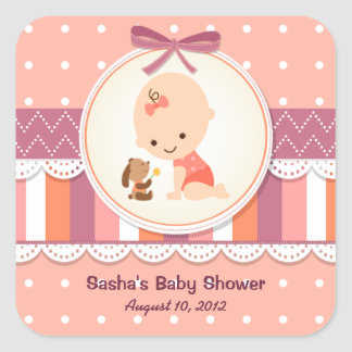 Dots & Stripes Baby Shower Label Stickers