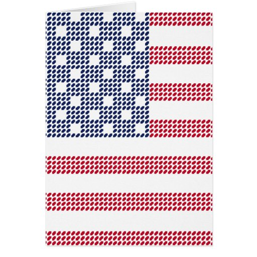 Dotted american flag greeting card