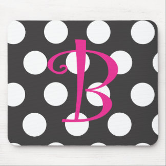 "Dotted Black/Hot Pink Mousepad Initial ""B"""