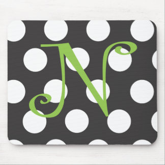 """Dotted Black Mousepad Initial """"N"""""""