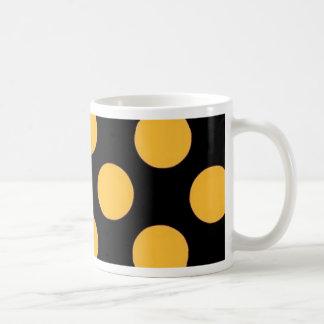 dotted black orange coffee mugs