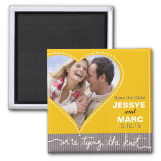 Dotted Heart Save the Date yellow gray Magnet