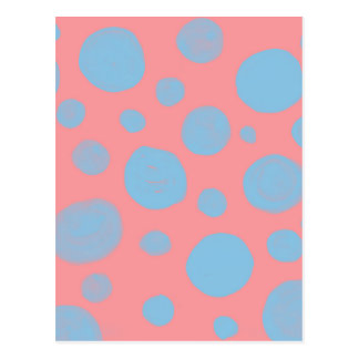 DOTTED  PATTERN, ABSTRACT DOTS IN  PINK AND BLUE POSTCARD