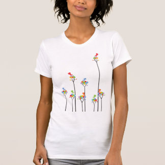 Dotted Trees Cute Birds Colorful Custom T-shirt