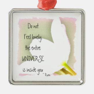 Dotted Tulip Rumi Quote Silver-Colored Square Decoration