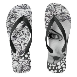 Dotted woman and owl in black and white flop flops thongs