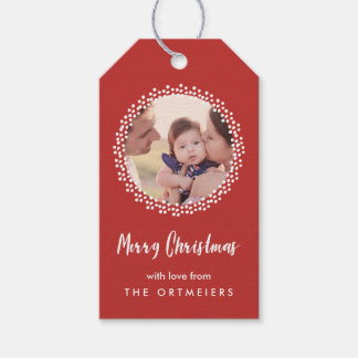 Dotted Wreath Holiday Photo Gift Tags