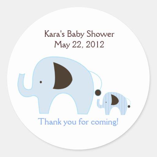 Dottie Elephant Blue Baby Shower Favor Sticker