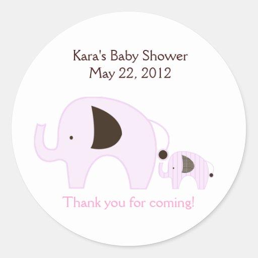Dottie Elephant Pink Baby Shower Favor Sticker