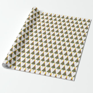 dotty christmas trees wrapping paper