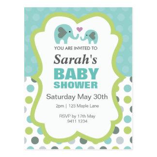 Dotty Elephant Baby Shower Postcard