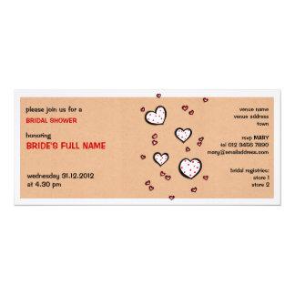 "Dotty Hearts kraft Bridal Shower Invitation 4"" X 9.25"" Invitation Card"