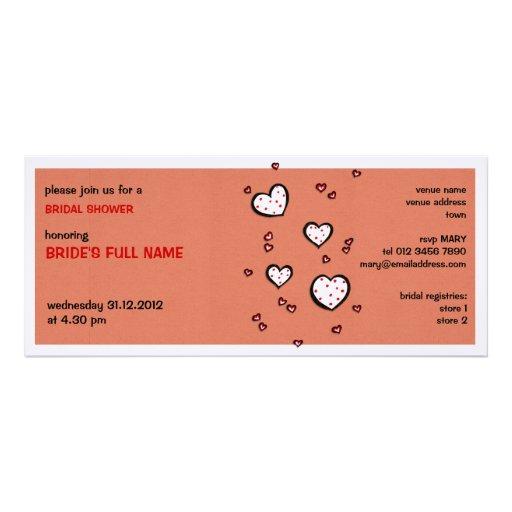 Dotty Hearts kraft red Bridal Shower Invitation