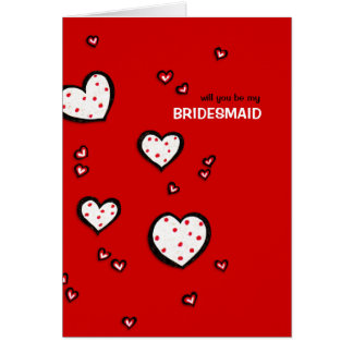 Dotty Hearts red Be My Bridesmaid Card