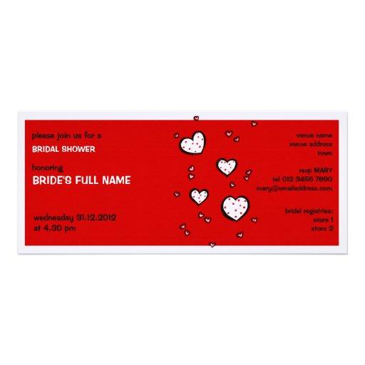 Dotty Hearts red Bridal Shower Invitation