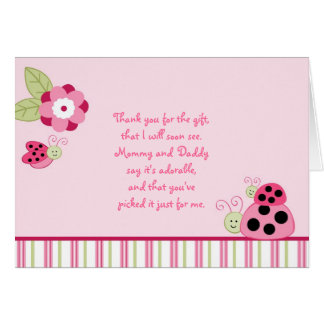 Dotty Ladybug Flower Thank You Note Cards