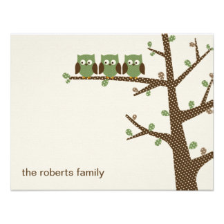 Dotty Owl Triplets Thank You Cards Invitation Personalized Announcements