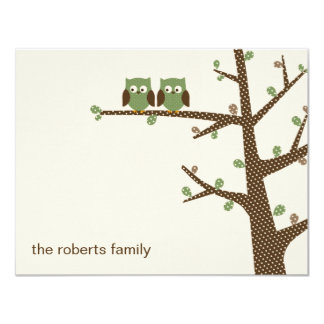 "Dotty Owl Twins Thank You Cards Invitation 4.25"" X 5.5"" Invitation Card"