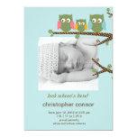 Dotty Owls Baby Boy Birth Announcement 13 Cm X 18 Cm Invitation Card