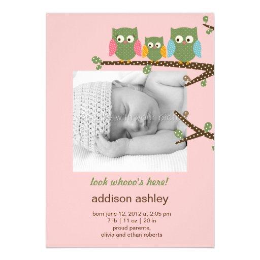 Dotty Owls Baby Girl Birth Announcement Custom Invitation